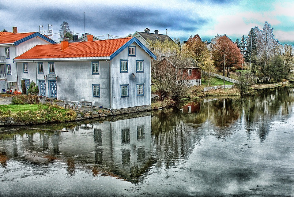 Akershus, Norway, Town, Trees, Sky, Clouds, Canal
