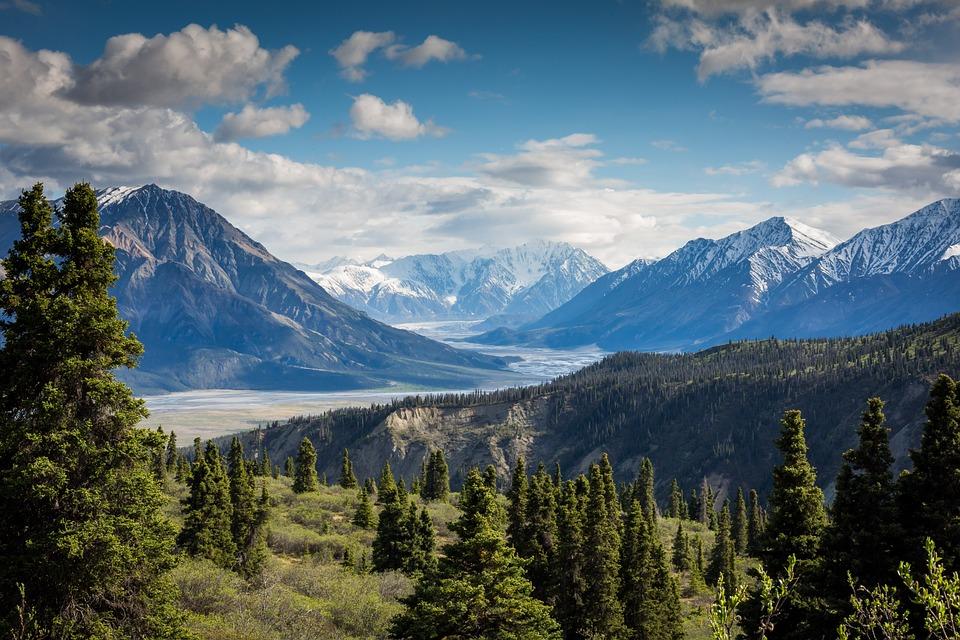Mountain Ranges, Trees, Sky, Clouds, Landscape