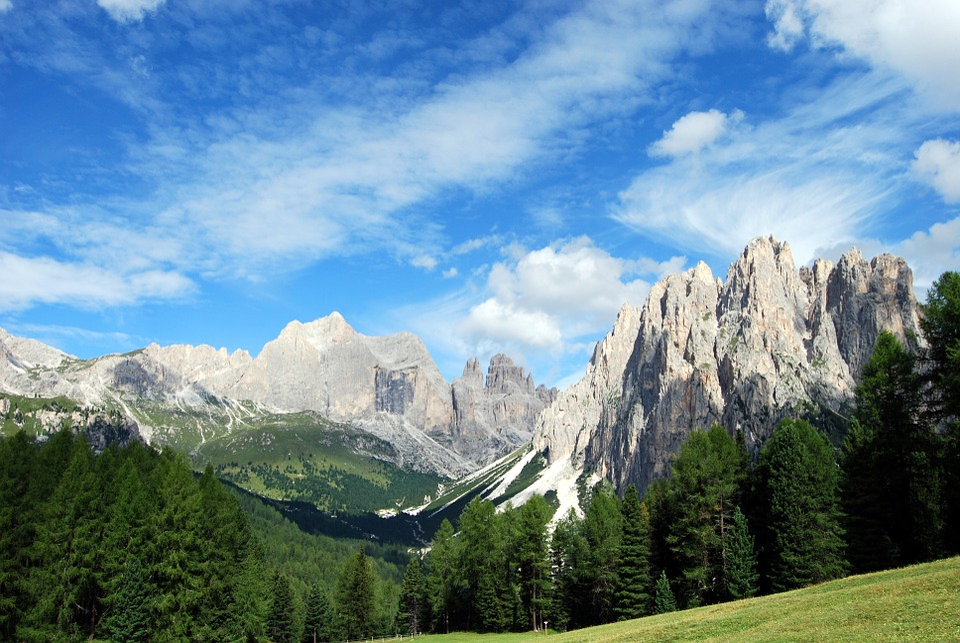 Dolomites, Mountain, Trees, Landscape, Rock, Sky