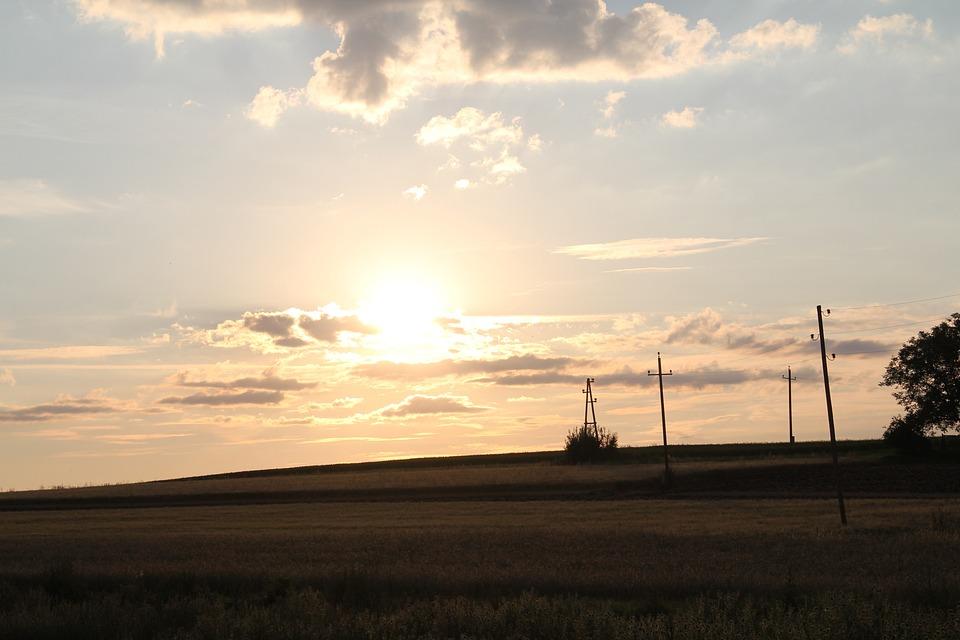 Sunrise, Clouds, Fields, Sun, Sky, Trees, Power Line