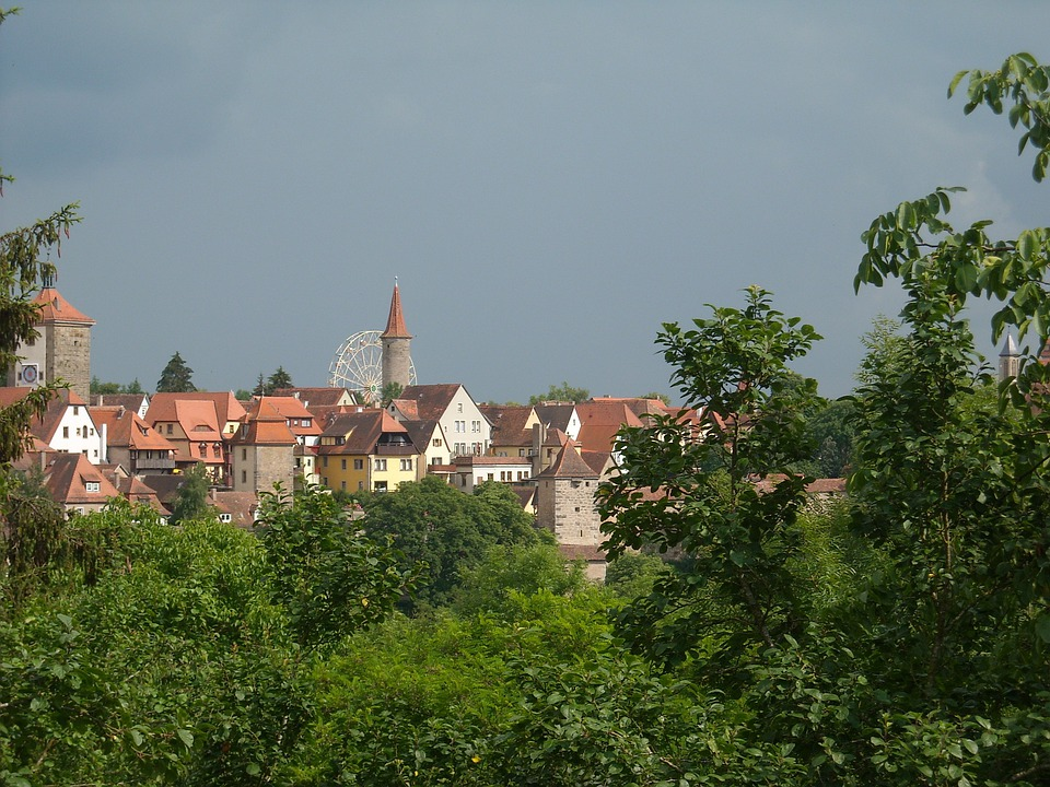 Rothenburg, Tauber, City View, Trees, Bush
