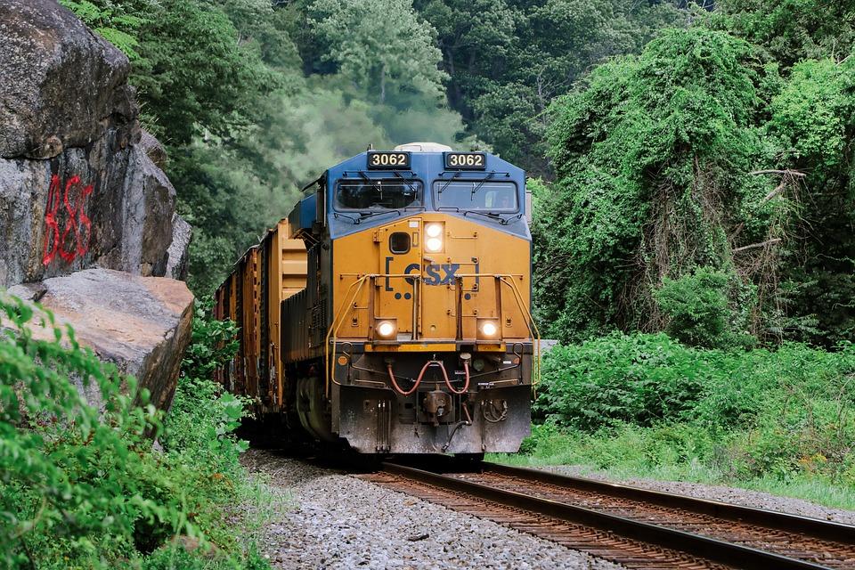 Train, Railroad, Trees, Cargo, Rails, Railway