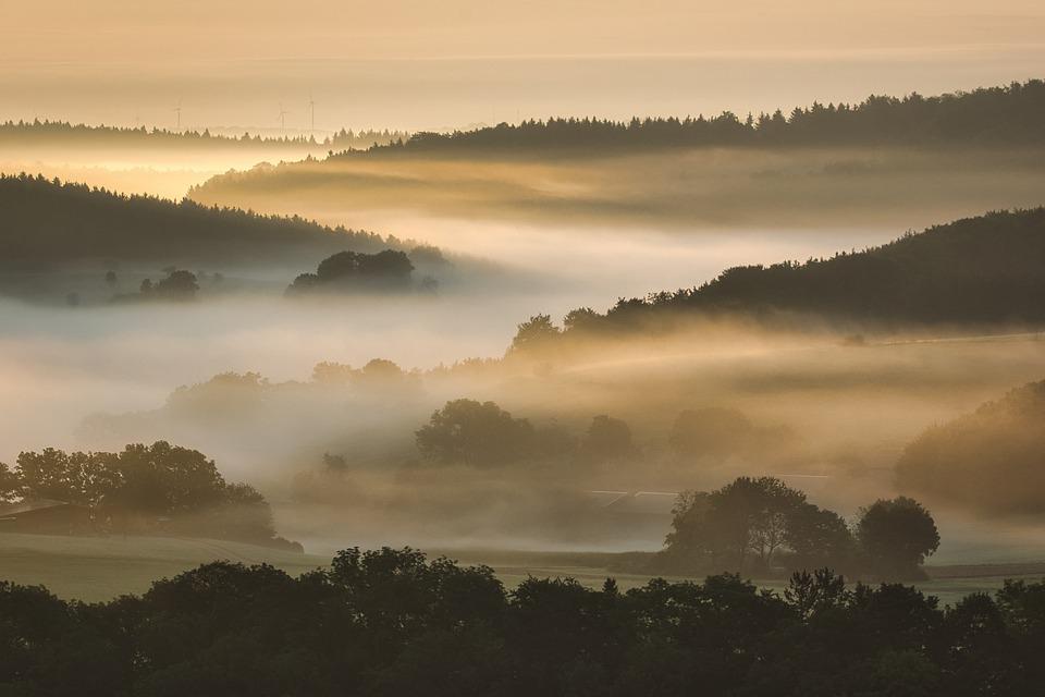 Sunrise, Mountains, Fog, Swabian Jura, Valley, Trees