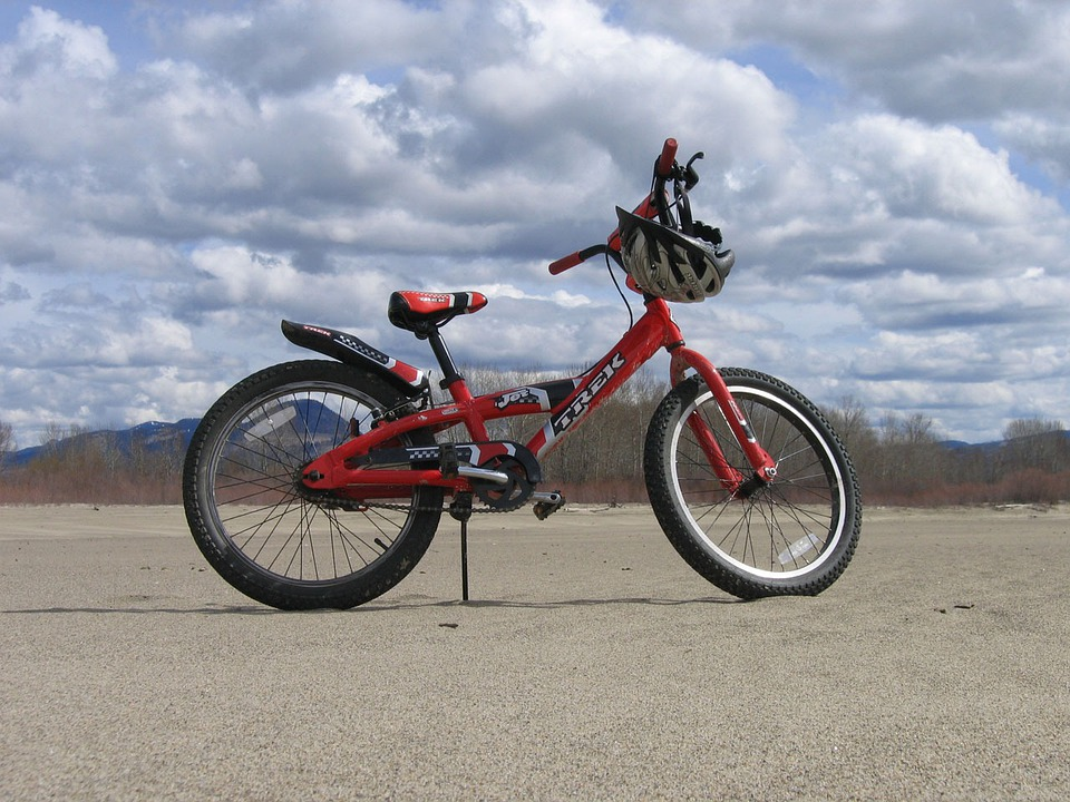 Red, Bike, Bicycle, Trek, Jet, Helmet, Sandy, Beach