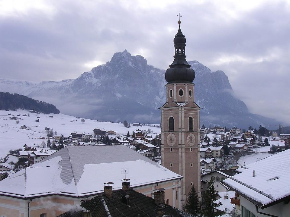 Trentino, Campanile, Snow, Architecture
