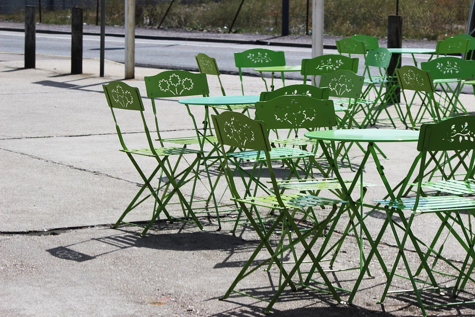 Terrace, France, Summer, Tréport, Tables, Chairs, Green