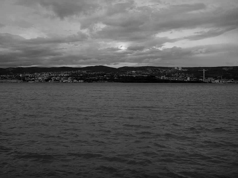 Trieste, Sea, Black And White