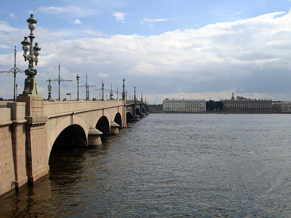 St Petersburg Russia, Bridge, Trinity Bridge, River