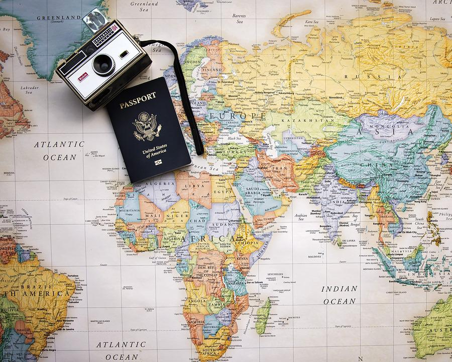passport map world trip tourism vacation travel