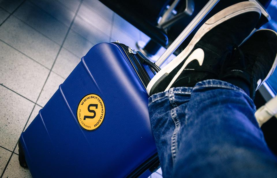Trolley, Airport, Man, Waiting, Shoes, Jeans, Travel