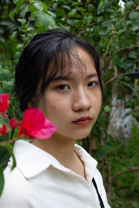 Woman, Flowers, Face, Floral, Makeup, Tropical, Asian