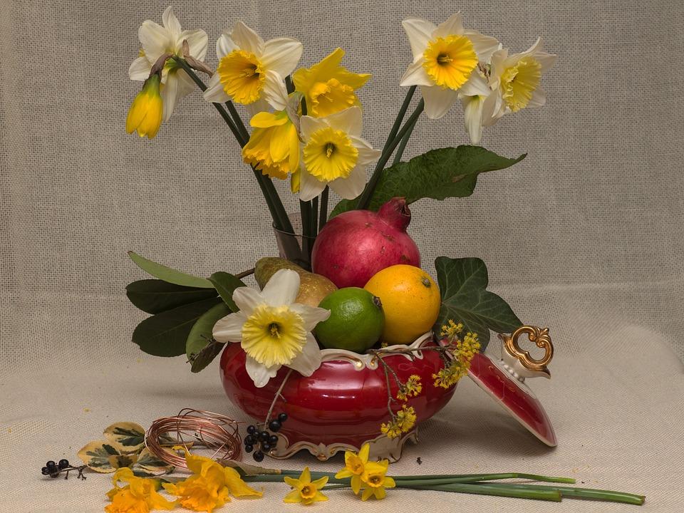 Still Life, Fruits, Flowers, Tropical Fruits, Daffodils