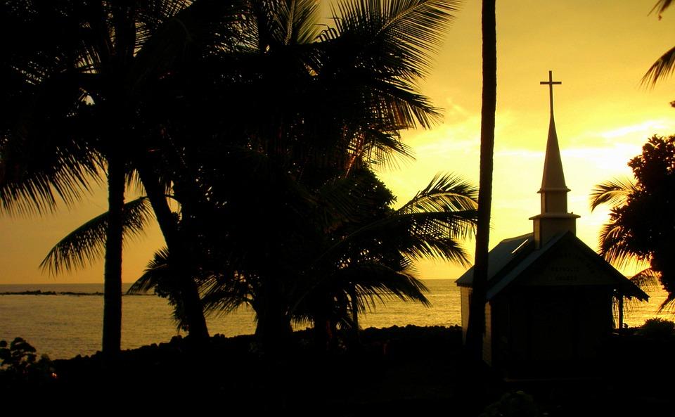 Sunset, Church, Hawaii, Silhouette, Tropical