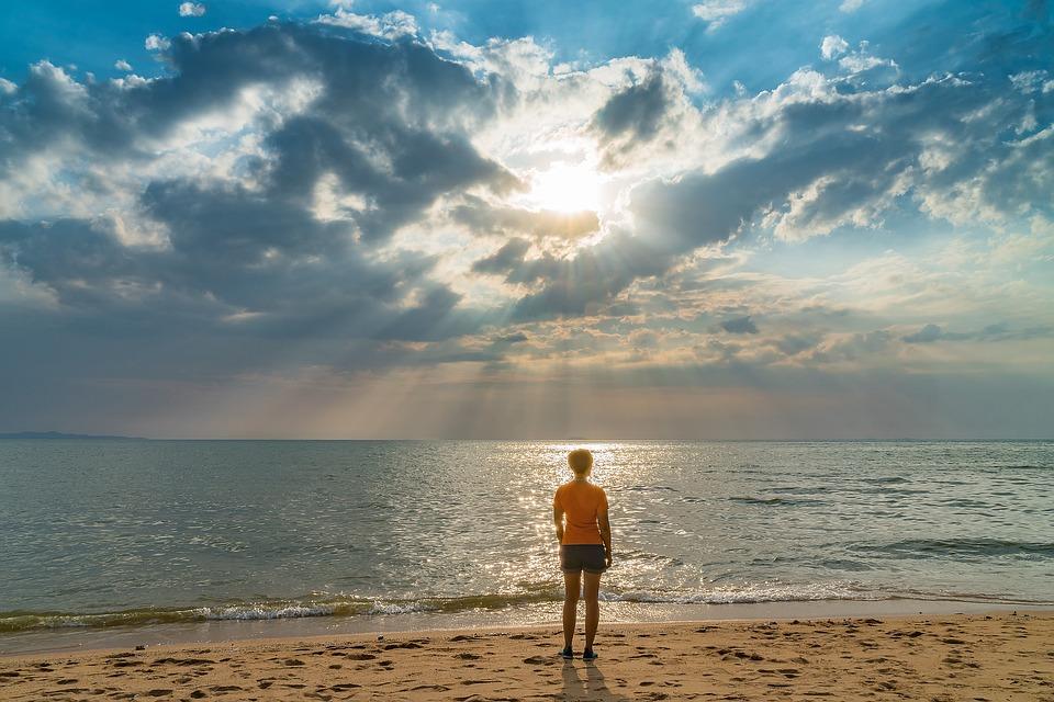 Woman, Beach, Sand, Sunset, Tropical, Sea, Ocean