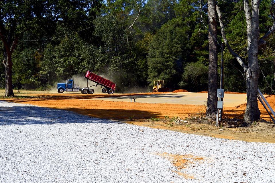 Construction, Truck, Dump, Trailer, Dirt, Gravel, Dozer