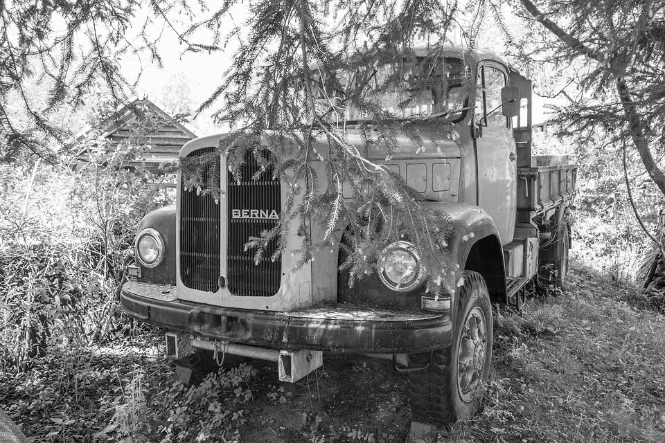 Truck, Old, Black And White, Old Truck