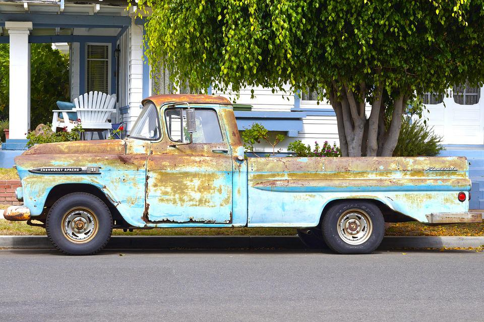 Truck, Pick-up, Rusty, 1959 Chevy Apache