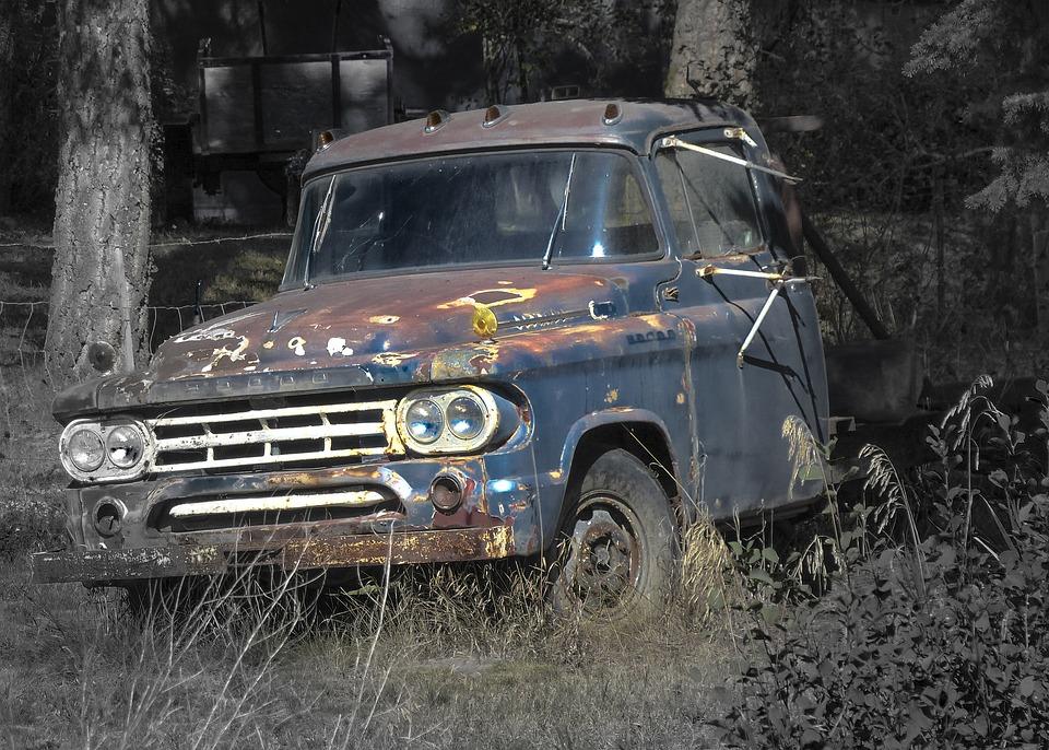 Car, Truck, Automobile, Vehicle, Rusty, Forgotten