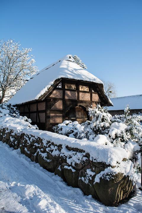 Snow, Truss, Fachwerkhaus, Braunschweig