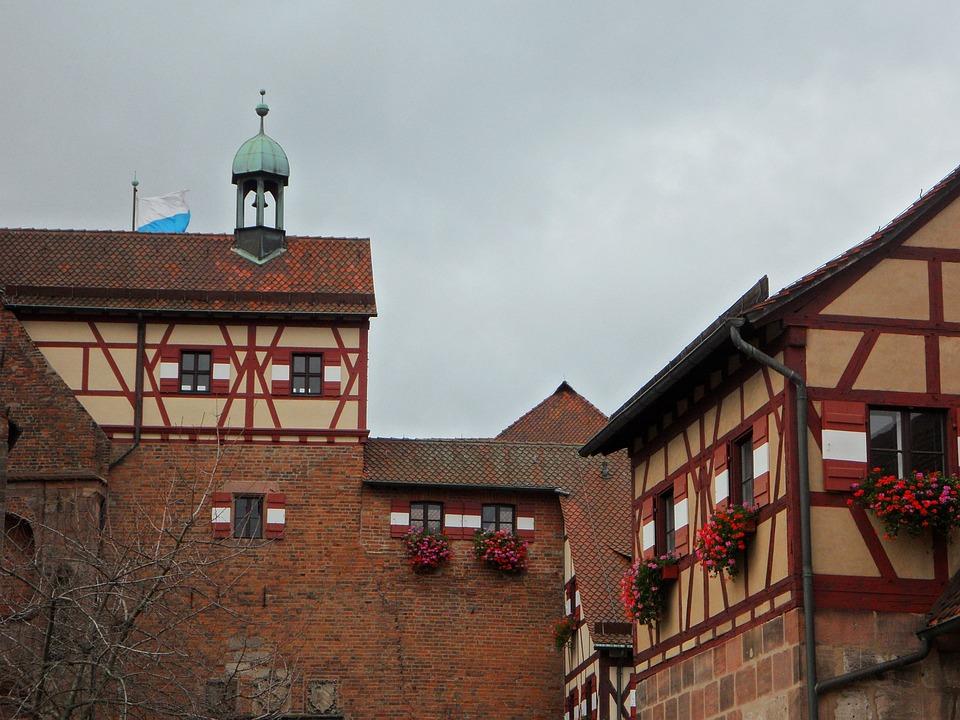 Burghof, Castle, Imperial Castle, Nuremberg, Truss