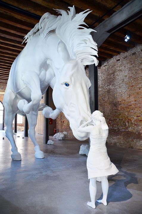 Horse, Girl, Trust, White, Thoughts, Sculpture, Animal