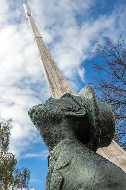 Russia, Borovsk, Old Town, Tsiolkovsky, Monument