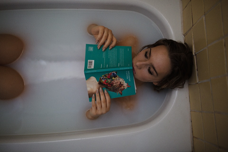People, Woman, Girl, Bath, Tub, Reading