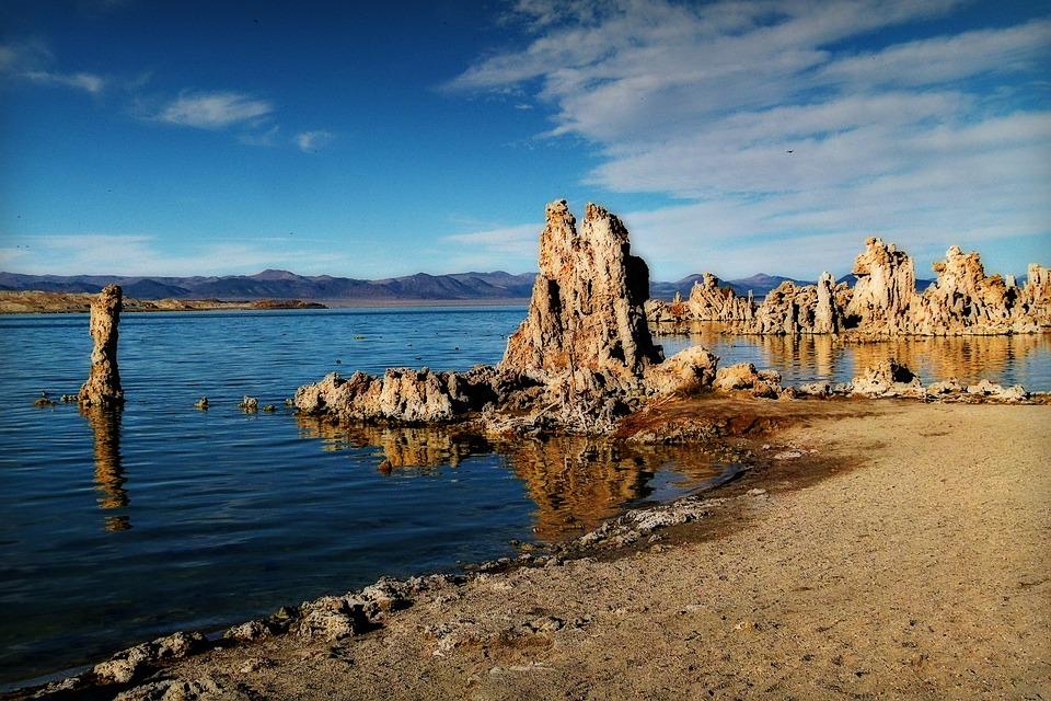 Mono Lake, Tufa, Tuff, Late Sun, Salt Lake, Desert