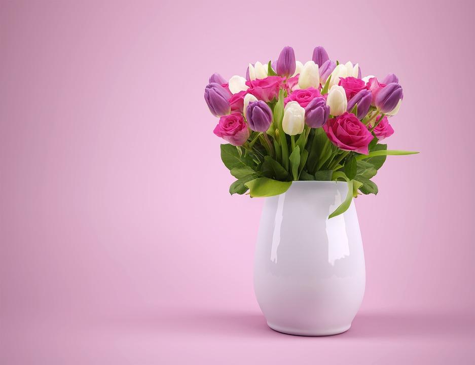 Bouquet, Vase, Flowers, Flowerpot, Tulips, Colorful