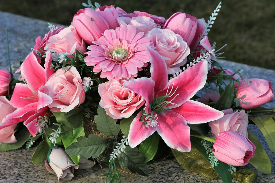 Artificial Flowers, Pink, Green, Roses, Tulips, Lily