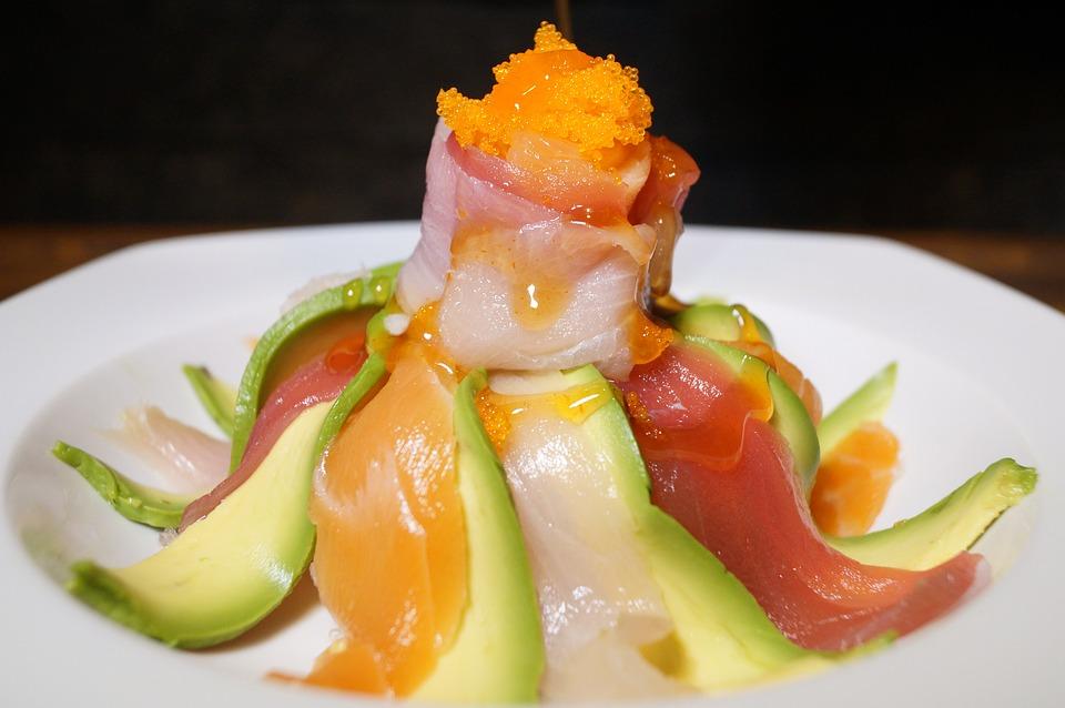 Tuna, Masago, Salmon, Avocado, Japanese, Dish