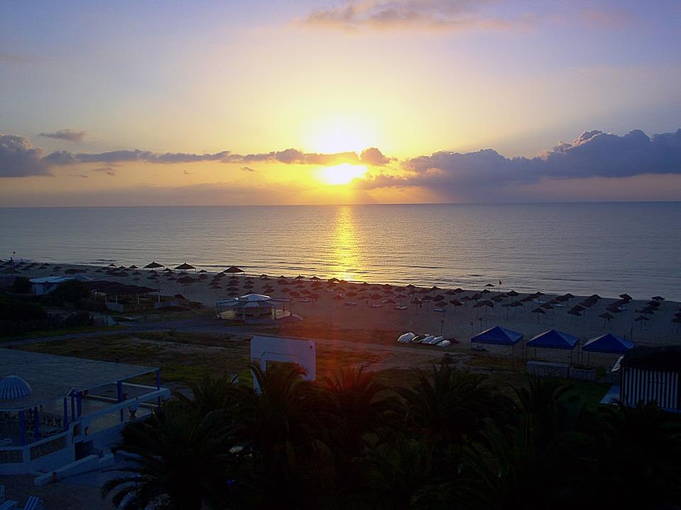 Sunset, Sea, Mediterranean Sea, Hammamet, Tunisia