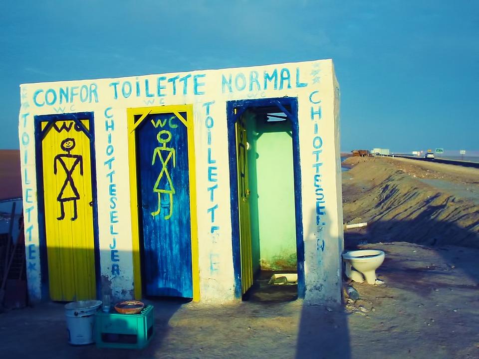 Toilet, Wc, Loo, Road, Sky, Blue, Tunisia