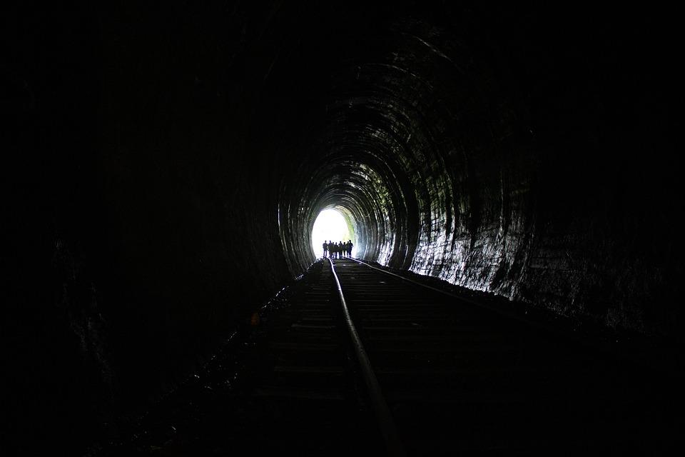 Tunnel, Railroad, Dark, Railway, Rail Tracks