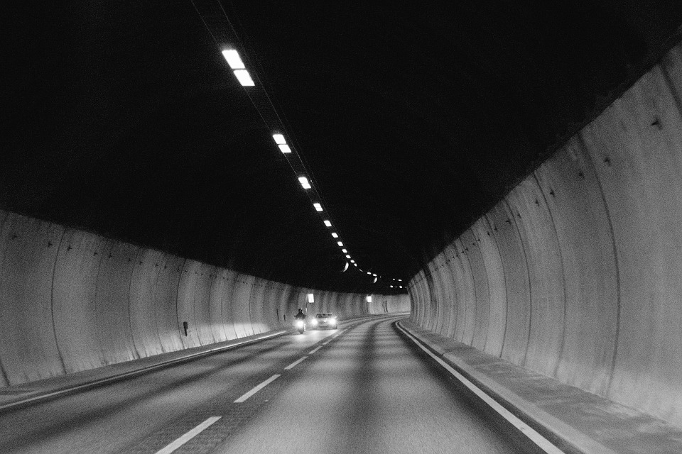 Tunnel, Road, Pavement, Cars, Motorbike, Motorcycle