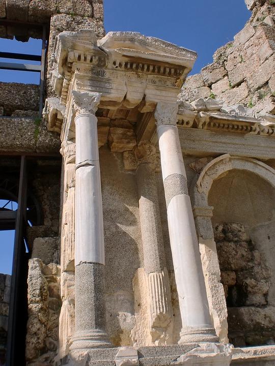 Alanya, Turkey, Side, Building, Columnar