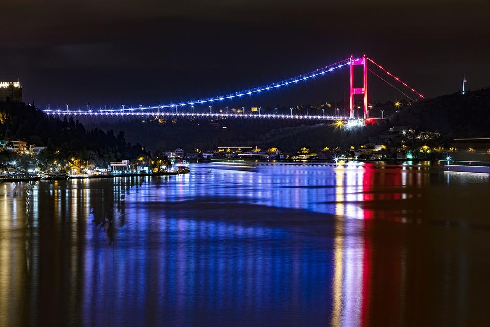 Night, Bosphorus, Turkey, Istanbul, Arnavutkoy, Bridge