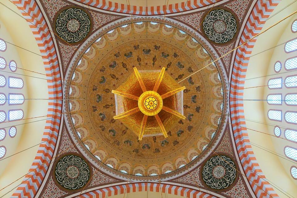 Cami, Istanbul, Turkey, Dome, Chandelier, Religion