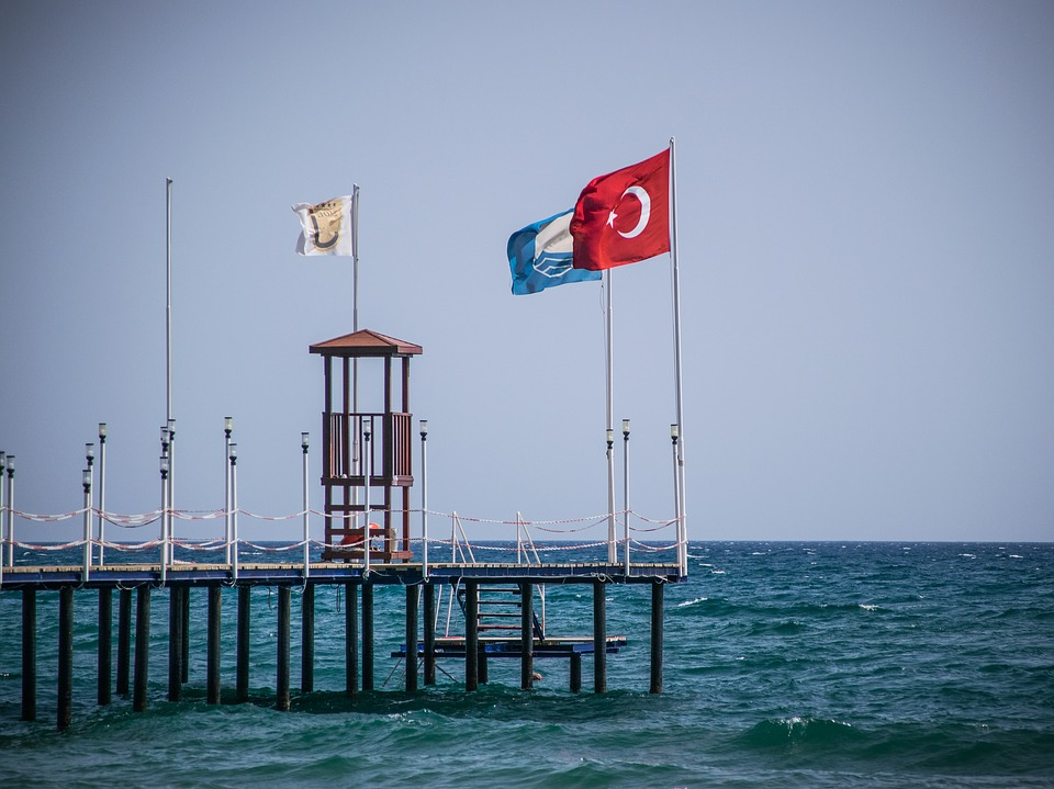Pier, Flag, Sea, Water, Coast, Turkey