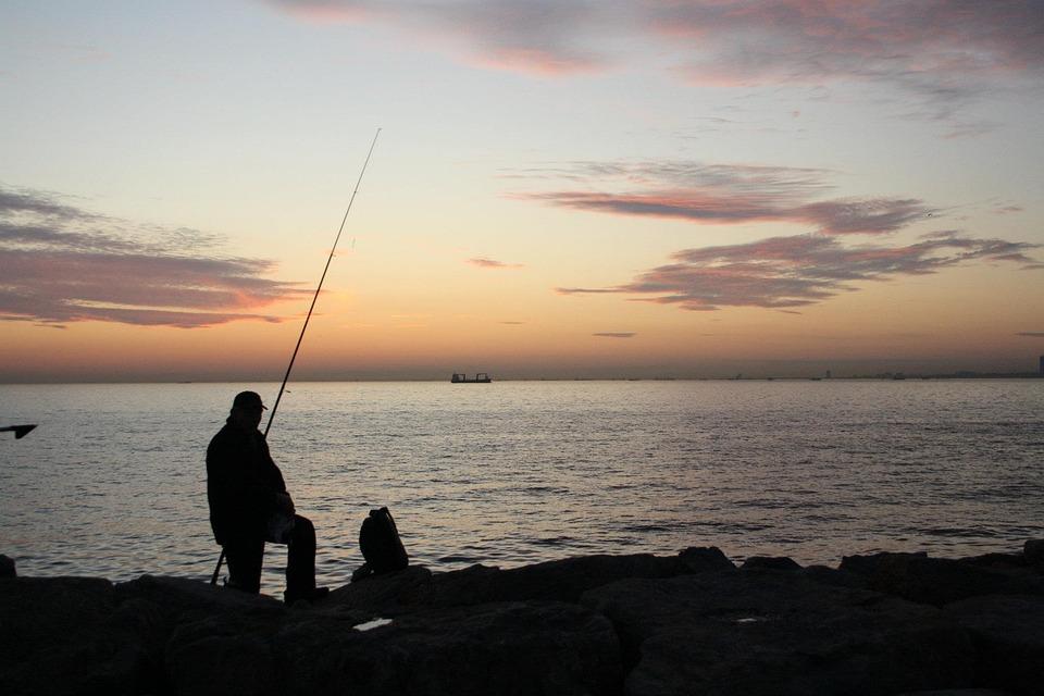 Fisherman, Fisher, Sunset, Evening, Sea, Turkey