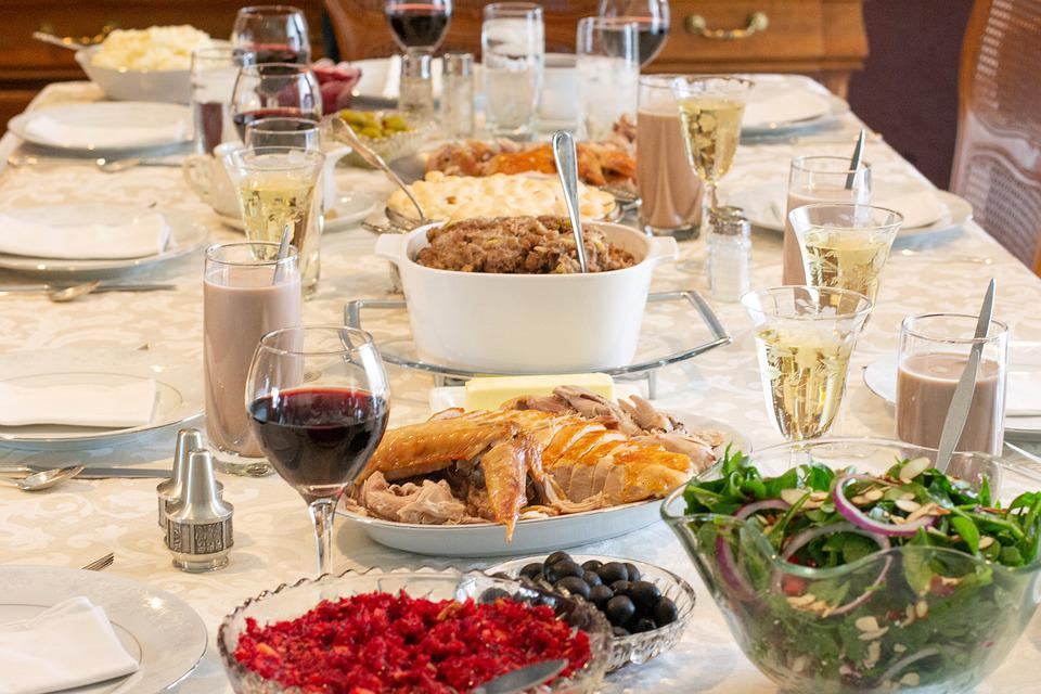Cranberries, Thanksgiving, Wine, Salad, Turkey