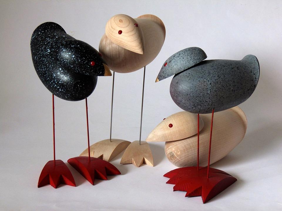 Birds, Encounter, Wood, Art, Arts Crafts, Turned