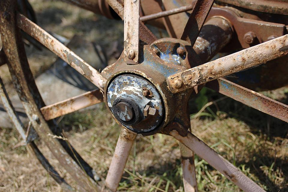 Wheel, Rust, Arable, Old, Retro, Rusted, Turned Off