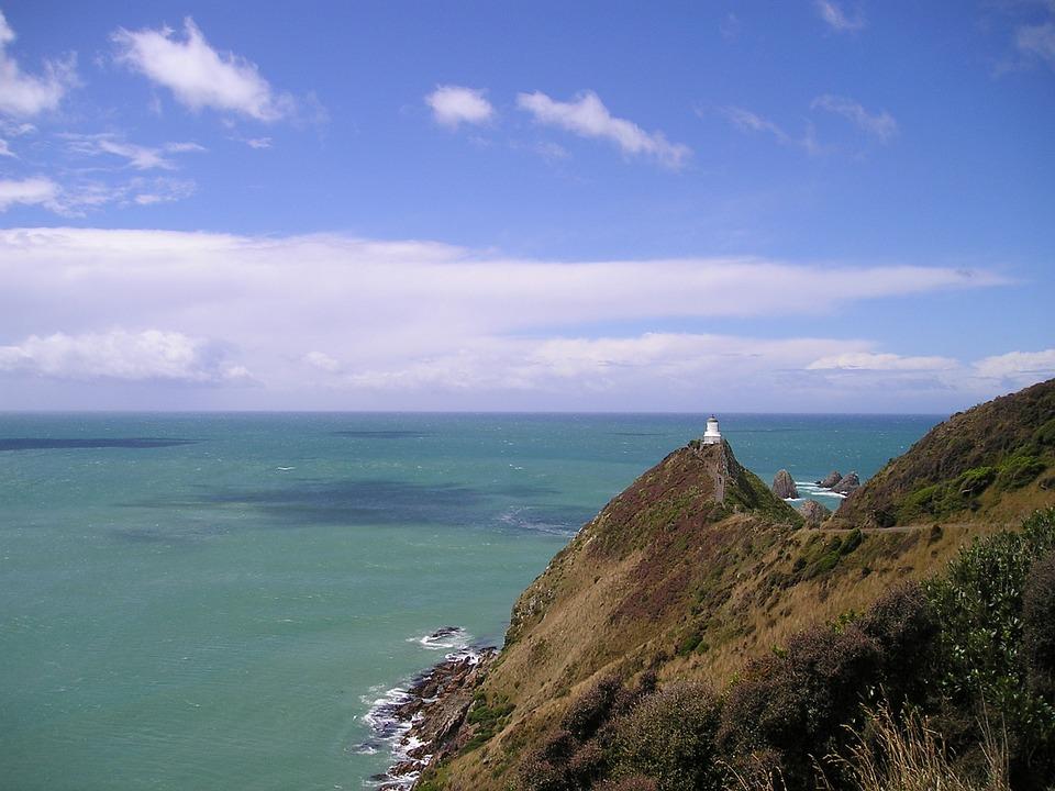 New Zealand, Lighthouse, Sea, Coast, Turquoise