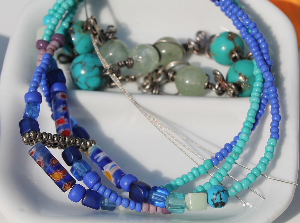 Art, Craft, Beads, Necklace, Blue, Turquoise