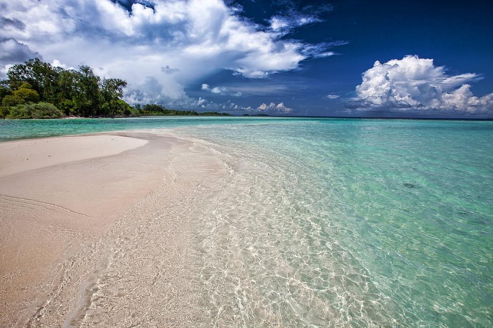 White Sand Beach, Ripples, Shallow, Sea, Turquoise
