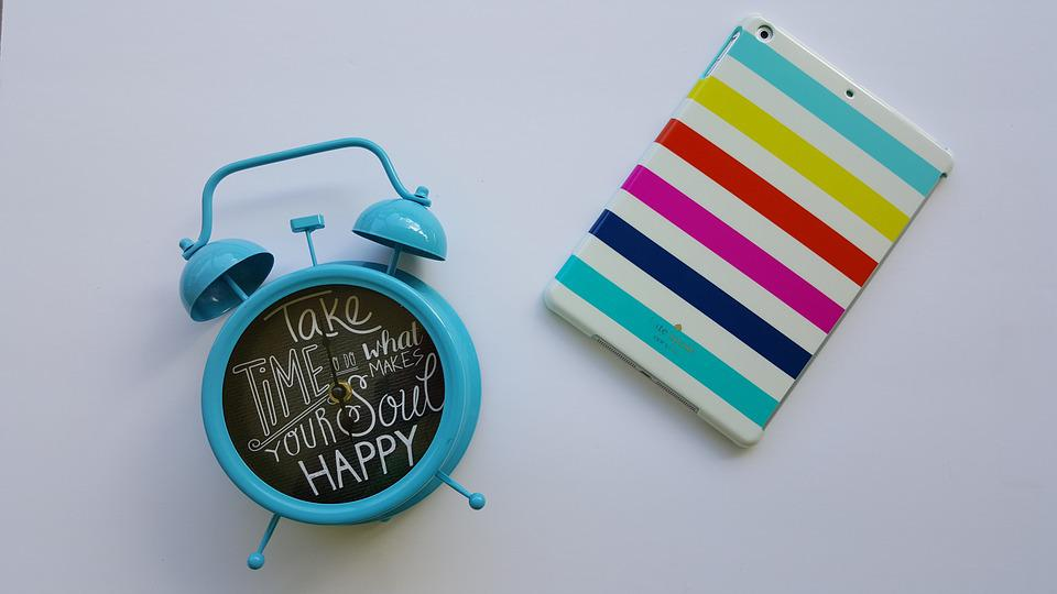 Clock, Stripes, Ipad, Happy, White, Turquoise