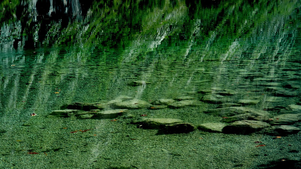 Reflection, Stones, Water, Turquoise, Blue, Fluent
