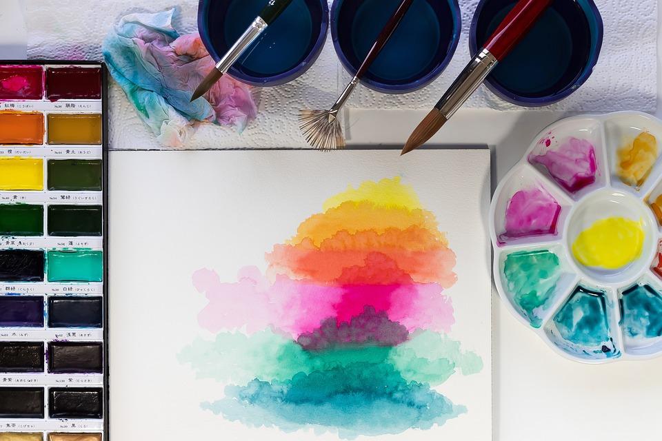Watercolour, Yellow, Orange, Pink, Turquoise, Blue