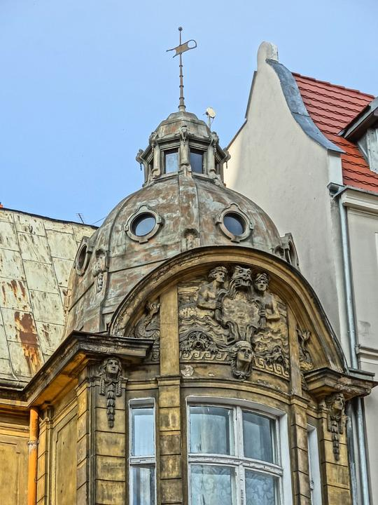 Bydgoszcz, Art Noveau, Turret, Relief, Artwork, Facade